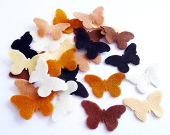 Felt Butterflies Brown Tones, Set of 24 pieces.