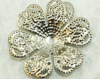 Silver Flower Iron Bead Caps 24mm (25pcs) S3