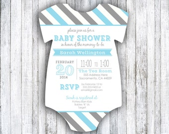 Set of 25 Die Cut Baby Shower Invitations - Colorful Stripes
