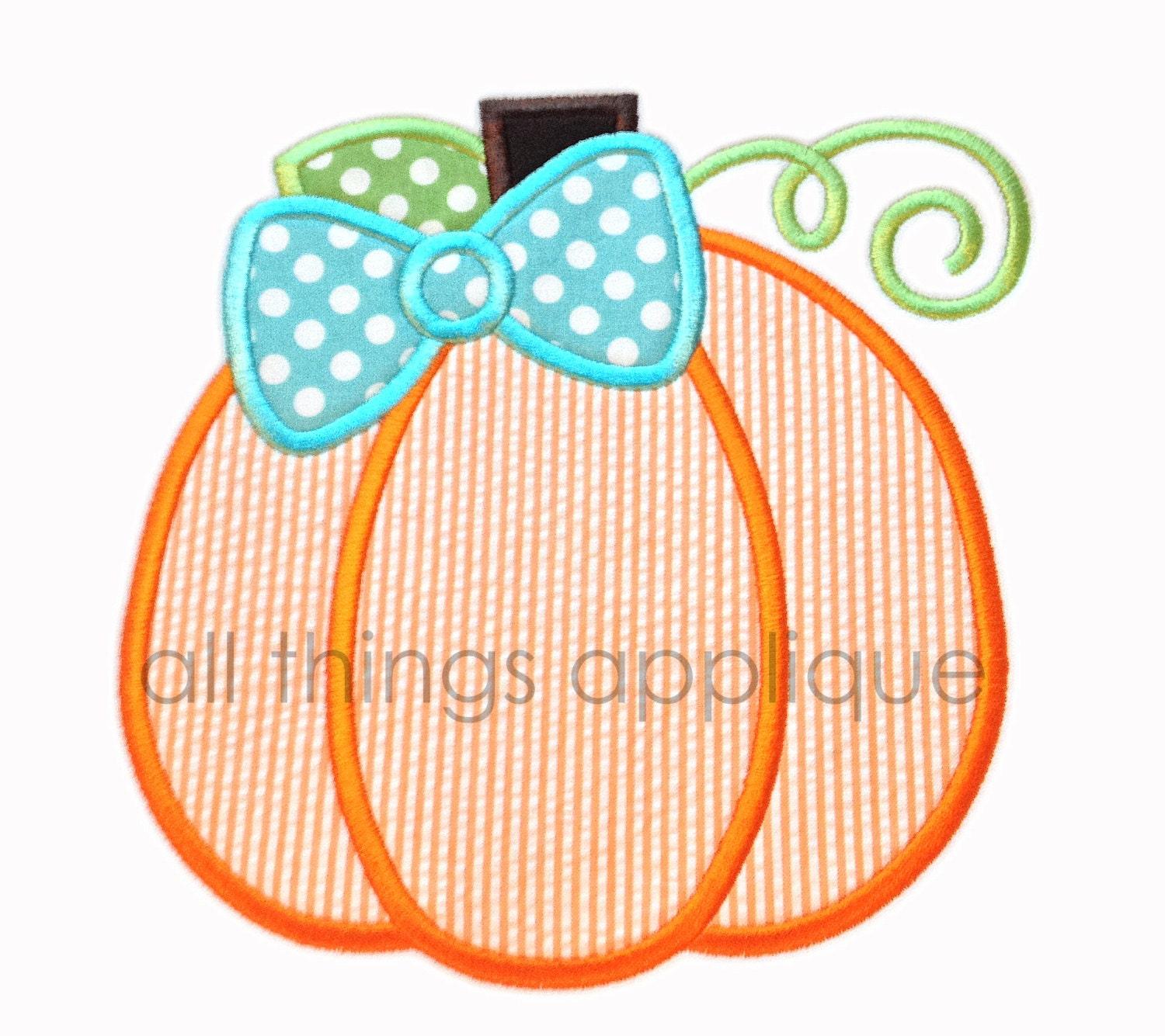 Bow pumpkin applique design sizes instant download