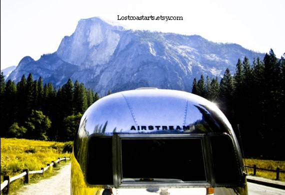 Vintage Airstream Photograph Yosemite Half Dome Reflections