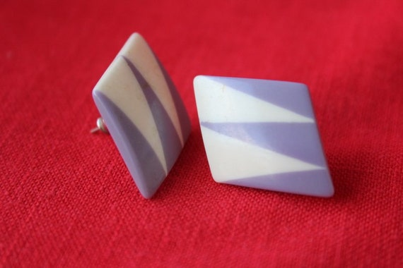 vintage plastic post earrings with geometric nouveau deco