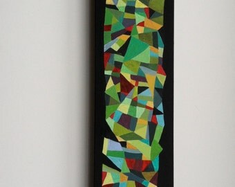 Abstract Triangles Painting on Wood Composition #8