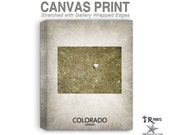 Colorado Map Stretched Canvas Print - Home Is Where The Heart Is Love Map - Original Personalized Map Print on Canvas
