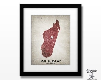 Madagascar Map Artwork Print - Home Is Where The Heart Is Love Map - Original Custom Map Print