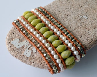 Leather, Pearl and Olive Green Serpentine Cuff Wrap Bracelet with a Floral Antiqued Button, Statement Bracelet, Gift Boxed