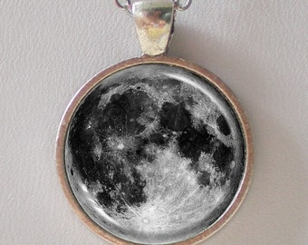Full Moon Necklace - Glass Pendant Moon Necklace- Solar System- Galaxy Series