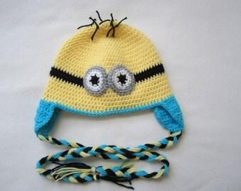 Crochet earflap  minions  hat