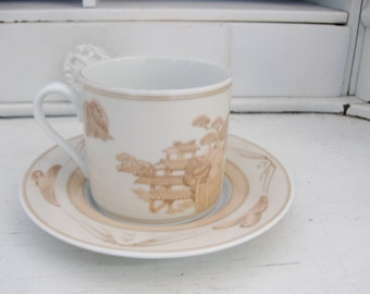 Vintage Georges Briard Demitasse Cup, Chinese Villiage, Chinoiserie Cup