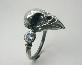 """Sparrow Skull Ring, Sterling Silver, """"The Admiral"""""""