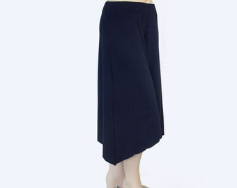 Plus Size Asymmetrical Wide Leg Gauchos-Hi Low Cropped Pants-Hand Dyed Organic Cotton/Bamboo Jersey-Choice of Color-XL,2X,3X,4X,5X,6X,7X,8X+