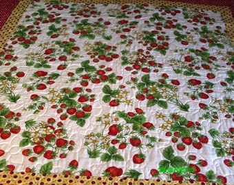 Strawberry Print Quilted Throw