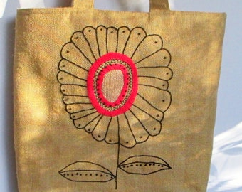 Floral jute tote bag, hand embroidered with a pink flower,handmade bag, shoppers, summer tote bag, spring bag, one of a kind