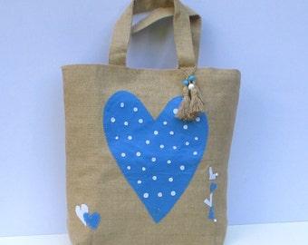Blue heart handmade large Jute Tote handbag applique , versatile,eco friendly/Valentines love
