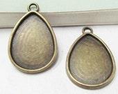 Cabochon Base -15pcs Antique Bronze Rain Drop Bezel Pendants 18x25mm C309-6