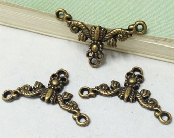 Connector Charms -25pcs Antique Bronze Flower Necklace Connector Charm Pendants 15x26mm F202-1