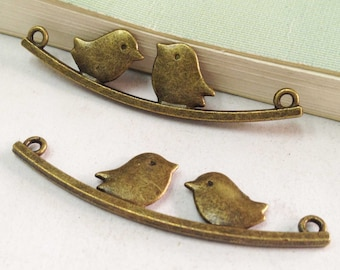 15pcs Antique Bronze Two Love Birds on Tree Branch Charm Pendant Connector 12x46mm F502-1