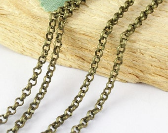 32ft 10 meters 2.6mm Antique Bronze Round Cable Link Chain Jewelry Findings