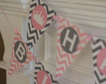 Happy Birthday Pennant Flag Pink and Grey Chevron Princess Crown Theme Banner - Ask About Our Party Pack Specials