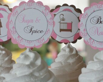12 - Pink Brown Sugar and Spice Theme Baby Shower Cupcake or Cake Toppers - Ask About our Party Pack Sale - Free Ship Over 65.00