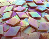 Mosaic Tiles - 100 Small Diamonds - Iridescent Peach Stained Glass - Hand-Cut