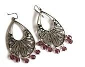 Statement Oriental Earrings Purple Ottoman