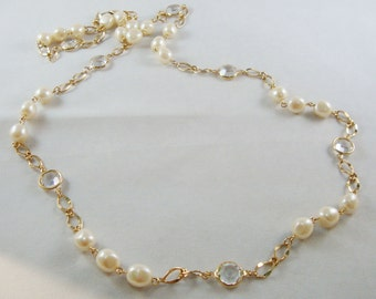 Long Vintage Pearl & Gold Chain Necklace