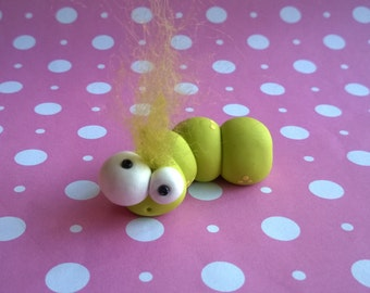 Green Grub Worm Polymer Clay Animal Ooak Gift Figure Figurine Miniature Cute Small