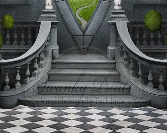 Two In One 8ft x 16ft Vinyl Photography Backdrop / Alice in Wonderland and Black Tiles
