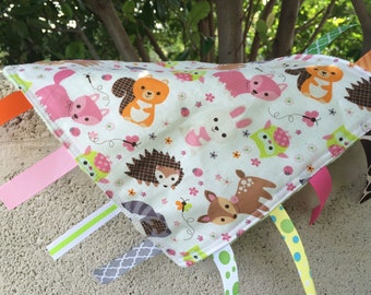 Tossed Forest Animals Tag Blanket with your choice of Minky // In Stock, READY TO SHIP