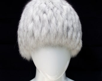 Fur Wig Hat Blue FOX Knitted Base Acrylic Beanie Russian Women Arctic Store® FREE SHIPPING