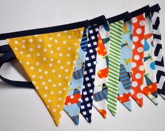 Boys Airplanes fabric banner bunting, Blue, orange, yellow & green, Birthday party or room decor, primary colors, photo prop