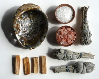 Sale--- COMPLETE SMUDGE and CLEARING Set -- palo santo wood, sage, abalone shell, sea salt - smudging set, clearing tools, house warming