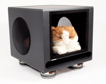 Upcycled Klipsch Subwoofer Speaker Pet House III, Pet Furniture, Dog House, Cat House, Pet Bed