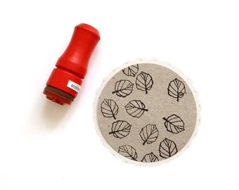 Mini Hazelnut Leaf Rubber Stamp