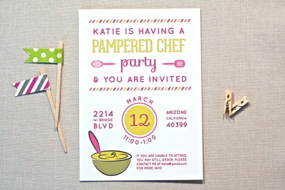 items similar to pampered chef party invitation for