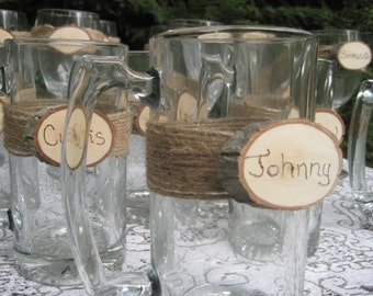 Rustic Beer Mugs, Personalized Beer Mugs, Log Slice Beer Mugs, Wedding Beer Mugs, Rustic Wedding, Groomsmen Gift, Set of 6