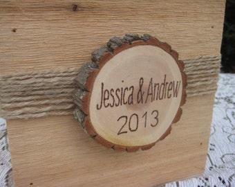 Rustic Wedding, Wedding Centerpiece, Wedding Decor, Personalized Box, Custom Box, Burlap Twine, Wood Slice, Burlap Wedding