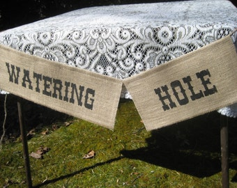 Watering Hole Sign, Burlap Banner, Burlap Watering Hole Banner, Rustic Wedding, Burlap Wedding, Drink Sign, Wedding Decor, Bar Banner