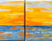 Painting-small painting-set of four-Lake Sunset-oil painting-oil on canvas-Original