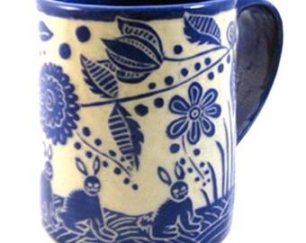 Hand Built Art POTTERY MUG, 3 Three BUNNIES Rabbits, Sgraffito Carved Ceramics, Landscape Exotic Flowers, Functional Art Mug Cup, Handmade