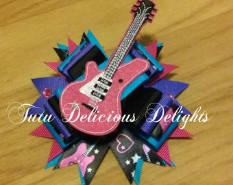 Rock Star Diva Guitar Hair Bow