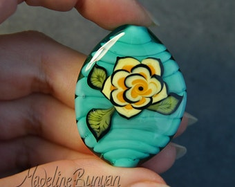 Yellow Tattoo Style Rose on Celadon Green, Lampwork Focal Bead