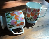 Vintage Tea Cups with pink and orange tulip floral design decal transfer print, Stylecraft pattern #1219, Made in Japan in Mint Condition
