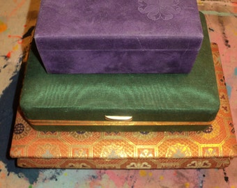 3 Vintage Cloth Covered Jewelry Boxes in Very Good Condition with great storage and visual style, Mardi Gras Colored Fabrics