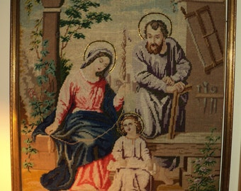 Antique Exquisite Needlepoint Tapestry of the Holy Family with Jesus, Mary and Joseph with Halos  Around Their Heads in Near Mint Condition