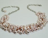 Blush Pearl Cluster Necklace, Chunky Pearl Necklace Bridal Jewelry, Bridesmaid Blush Necklace, Pink Pearl Jewelry, Blush Wedding Necklace