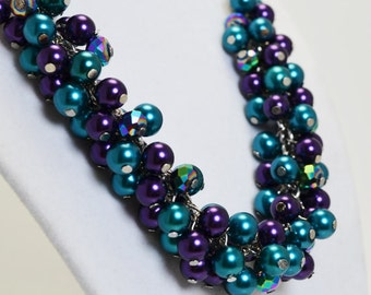 Peacock Pearl Necklace, Teal and Purple Necklace, Chunky Purple Necklace, Pearl Cluster Necklace, Purple & Teal Bridesmaid Necklace