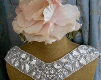 Silver Beaded Stone Applique