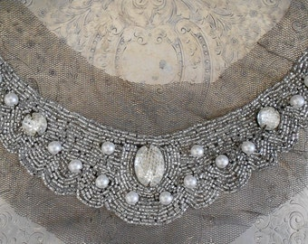 Clear Beaded Pearl Stone Appliques